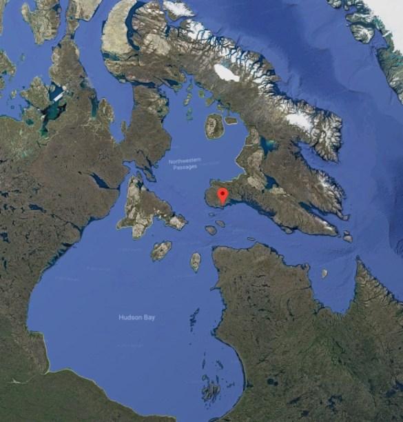 Une partie du Nunavut, avec Cape Dorset au Sud-Est du territoire, là où le Détroit d'Hudson rencontre le Passage du Nord-Ouest au Nord de la Baie d'Hudson et du Québec.