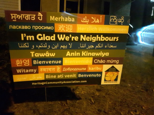 Pancarte sur un terrain privé à Saskatoon. (Photo: Jean-Pierre Picard)