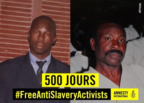Moussa Biram et Abdallahi Mattalah emprisonnés à cause de leur combat contre l'esclavage (Amnesty International)