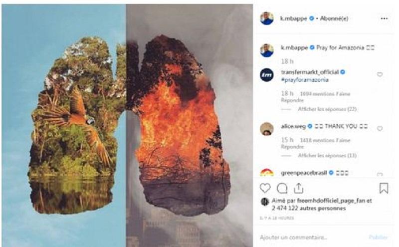La forêt amazonienne en feu ; Dadju et Kylian Mbappé expriment leur inquiétude