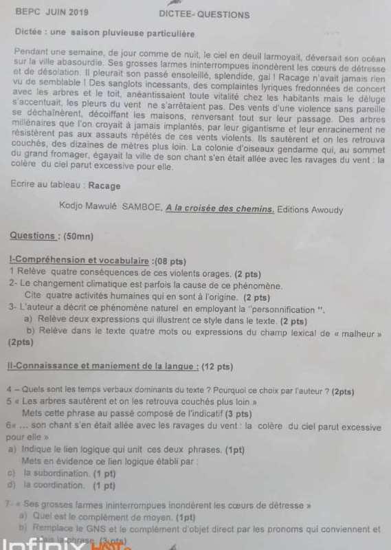 Togo-BEPC 2019 : une dictée trop compliquée pour les élèves ? (Photo)