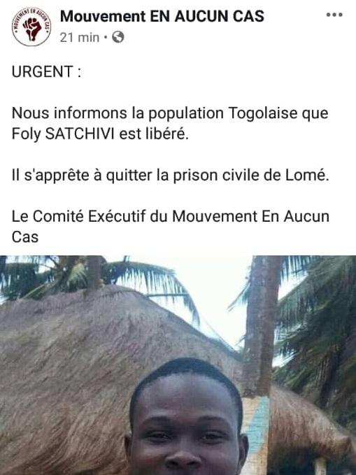 Togo Folly Satchivi libéré par grâce présidentielle !