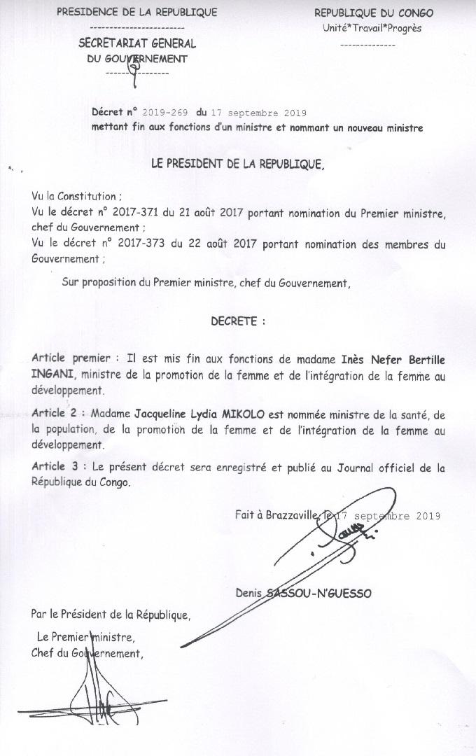 in-Congo la ministre Inès Ingani virée du Gouvernement par Dénis Sassou-N'guesso