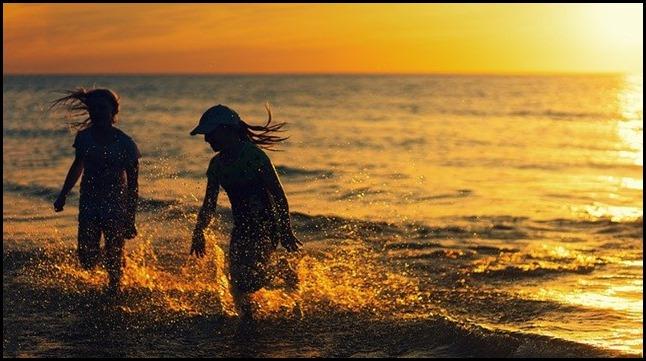 bonheur mot plage amis joie