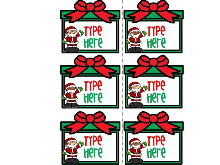 editable christmas labels with