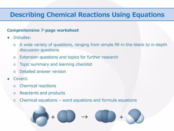 Describing Chemical Reactions Using Equations [worksheet] By Goodscienceworksheets  Teaching