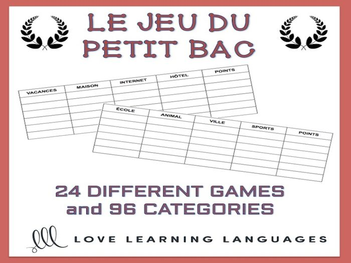 gcse french le petit bac french scattergories game
