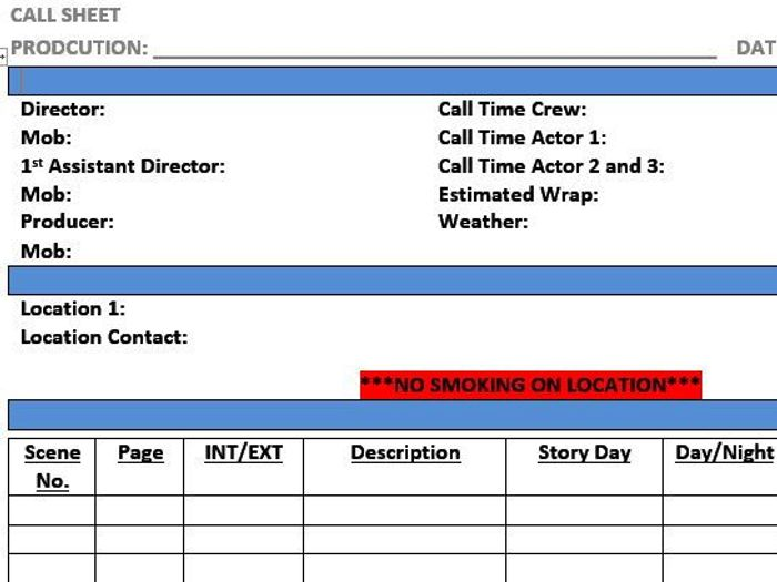 Call Sheet Template (Film & TV/Media Students) by stefanbracher ...