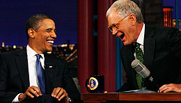 U.S. president Barack Obama and David Letterman (Canadian Press)