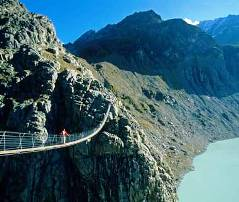 Trift Suspension Bridge in the Swiss Alps
