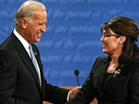 Joe Biden and Sarah Palin shake hands (Reuters)