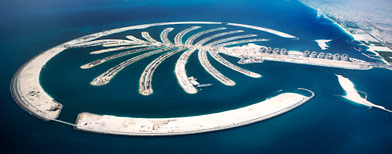 Aerial view of the Island of Palm Jumeirah, Dubai