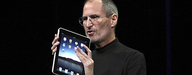 Apple Chief Executive Officer Steve Jobs holds the new iPad during the launch of Apple's new tablet computing device in San Francisco, California, January 27, 2010.  (Reuters/Kimberly White)