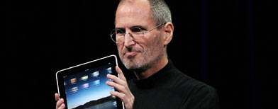 Steve Jobs introducing the iPad in January (Photo by Justin Sullivan/Getty Images)