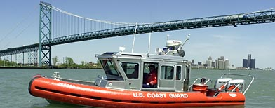 A Coast Guard boat patrols the Detroit River near the Ambassador Bridge. (AP/Paul Sancya/File)