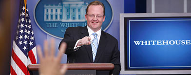 Robert Gibbs takes questions in White House briefing room (AP)