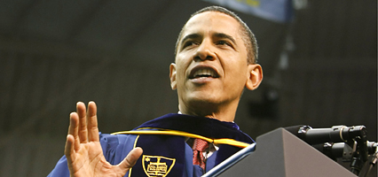 President Barack Obama delivers the commencement speech during the 2009 graduation ceremony at the University of Notre Dame in South Bend, Ind. Sunday, May 17, 2009. (AP Photo/Gerald Herbert)