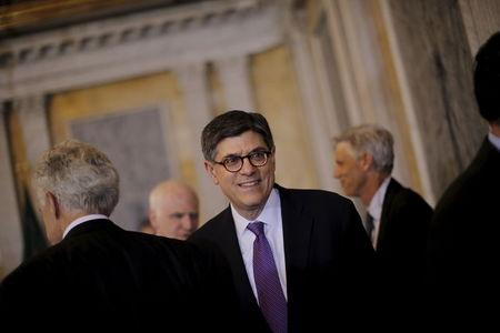 Treasury Secretary Lew leaves after a meeting of the FSOC at the Treasury Department in Washington