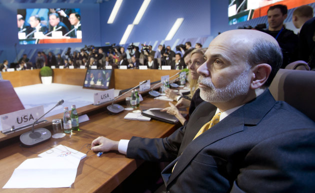 <p>               Chairman of the U.S. Federal Reserve Ben Bernanke attends the summit of financial ministers and heads of central banks of the G20 group of nations ahead of their meeting in Moscow, Russia, Saturday, Feb. 16, 2013. (AP Photo/Misha Japaridze)