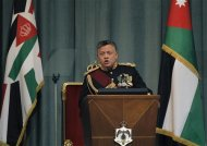 Jordan's King Abdullah delivers a speech during the opening of the first session for the new parliament in Amman, February 10, 2013. REUTERS/Ali Jarekji