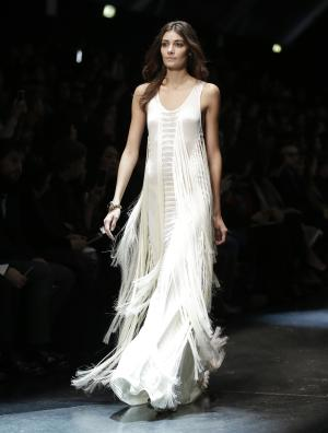 A model wears a creation for Roberto Cavalli women's …