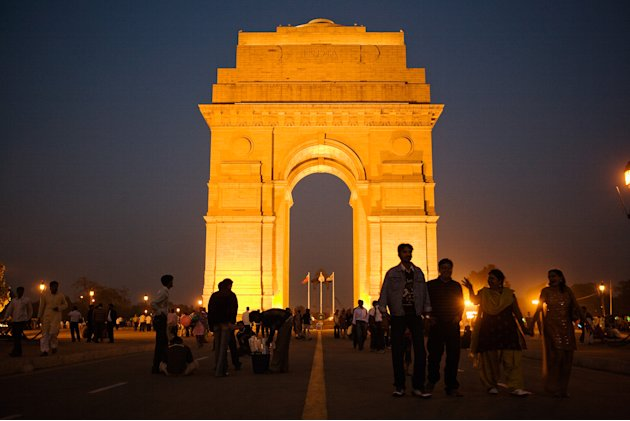 Visitors Enjoy India Gate