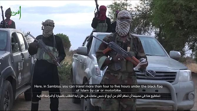 A grab taken from a video posted on YouTube on June 2, 2015 by Boko Haram shows an alleged group member delivering a speech at an undisclosed location