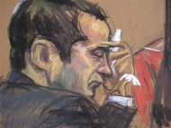 """Former New York City police officer Gilberto Valle (L), dubbed by local media as the """"Cannibal Cop"""", listens as his wife Kathleen Mangan (not shown) testifies in this courtroom sketch on the first day of his trial in New York February 25, 2013. REUTERS/Jane Rosenburg"""