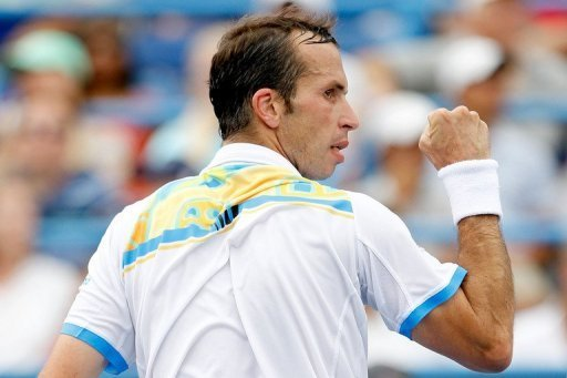 Radek Stepanek of the Czech Republic celebrates a point
