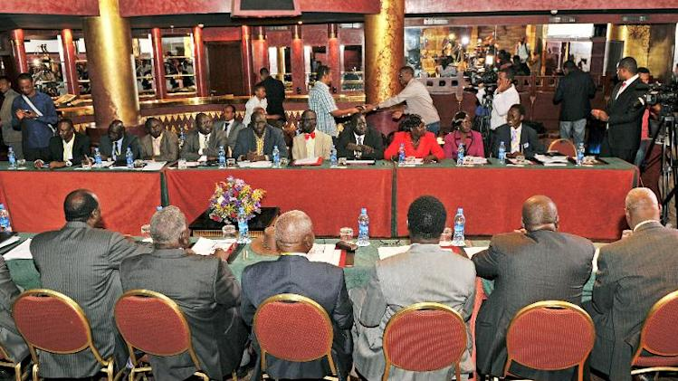 South Sudanese government representatives (foreground) and opposition representatives (back) attend peace talks on the fighting in South Sudan, on January 13, 2014 in Addis Ababa