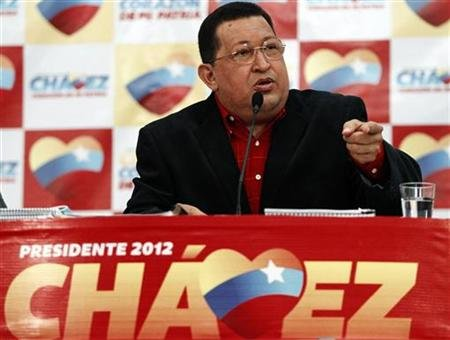 Venezuela's President Chavez speaks during a news conference in Caracas