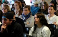Penn State University Worthington/Scranton campus students watch a live telecast of former Penn State football coach Joe Paterno's memorial service on Thursday, Jan. 26, 2012, in Dunmore, Pa. Paterno died on Sunday from lung cancer. (AP Photo/The Scranton Times-Tribune, Butch Comegys) WILKES BARRE TIMES-LEADER OUT