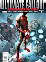 "In this comic book cover image released by Marvel Comics, ""Ultimate Fallout,"" is shown. In the wake of the death of Peter Parker, Ultimate Spider-Man is still slinging webs across Manhattan. In the fourth, and final, issue of ""Ultimate Fallout"" released on Wednesday, Aug. 3, 2011, the mantle of the wall-crawling hero has been taken on by Miles Morales, a young African-American. Marvel says the new alter ego will mean new changes, including the suite, which boasts a sleek, streamlined black outfit with a deep ride spider on the chest and cobwebs on the shoulders and head. (AP Photo/Marvel Comics)"