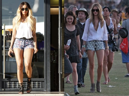 Printed cutoffs: This year's take on Summer's ubiquitous jean shorts is a bit more embellished and girly than in past seasons. Ciara's floral printed version looks painted on and too short while Rosie Huntington-Whiteley's fit her perfectly, and look so fresh combined with a loose white shirt and ankle boots.  (INFphoto.com & WENN.com)