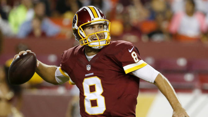 FILE - In this Aug. 20, 2015, file photo, Washington Redskins quarterback Kirk Cousins (8) passes the ball during the second half of an NFL preseason football game against the Detroit Lions in Landover, Md. The Washington Redskins have made a quarterback change: Kirk Cousins will be the starter this season, not Robert Griffin III. (AP Photo/Alex Brandon, File)