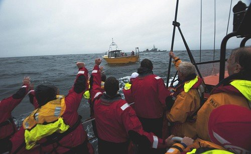 The Baltimore RNLI lifeboat crew rescued 21 people after a yacht capsized during the Fastnet Race off Co Cork (RNLI/PA)
