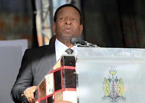 Zulu King Goodwill Zwelithini delivers a speech during…