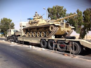 An Egyptian military tank is deployed in the northern …