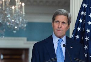 US Secretary of State John Kerry speaks to the press …