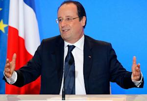 French President Francois Hollande gives a speech in…