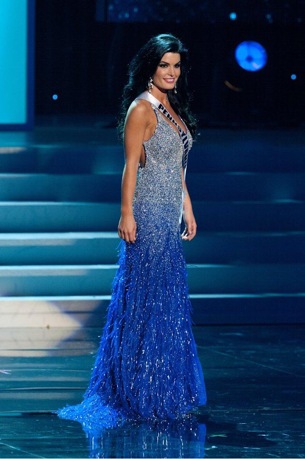 In this photo provided by the Miss Universe Organization, Miss Pennsylvania Sheena Monnin competes during the 2012 Miss USA Presentation Show on Wednesday, May 30, 2012 in Las Vegas. Monnin resigned h