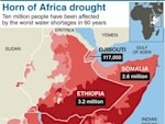 Map of the Horn of Africa showing areas affected by drought