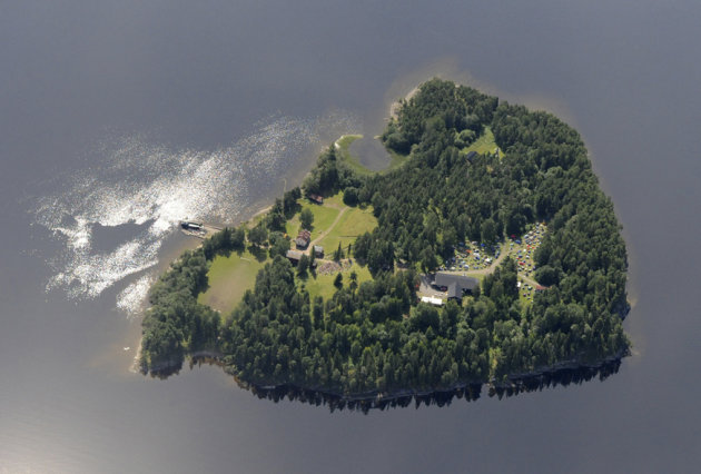 This Thursday, July 21, 2011 aerial view shows Utoya Island, Norway. On Friday, July 22, 2011, a man dressed as a police officer opened fire at the island youth camp connected to the ruling party. (AP