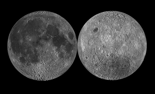 In this undated image provided by NASA on Wednesday, Dec. 28, 2011, shows two sides of the moon. Twin NASA probes traveling for the past 3 1/2 months are scheduled to arrive at the moon during the New