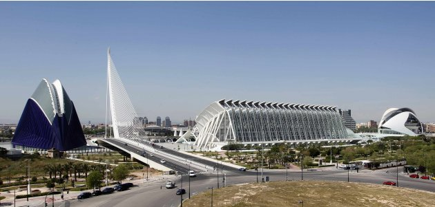A panoramic view of the City of Arts and Sciences, by architect Santiago Calatrava, is seen in Valencia