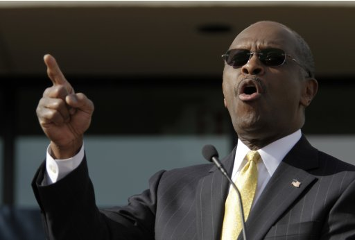 """Republican presidential candidate and businessman Herman Cain announces that he is """"suspending"""" his presidential campaign in Atlanta"""