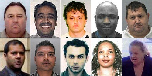 Suspected criminals pictured by the Crimestoppers Most Wanted Fraud Campaign
