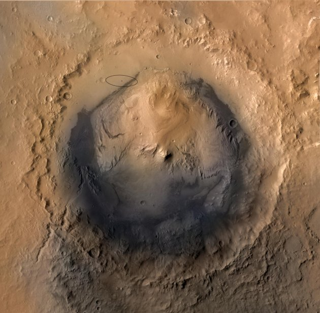 The target landing area for NASA's Mars Science Laboratory mission is the ellipse marked on this image of Gale Crater on Mars