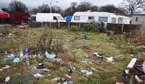 The Dale Farm site in Essex where around 100 traveller families face eviction