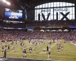 The New England Patriots warm-up in front of the the New York Giants prior to the start of the NFL Super Bowl XLVI football game in Indianapolis